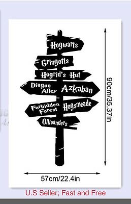 Harry Potter Wall Decal Hogwarts Road Sign Vinyl Sticker Home Decor, Large 35""