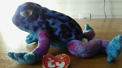 96d0974d5f1 TY Beanie Babies Baby Dart Rain Forest Frog Toad Stuffed Animal Retired Tags