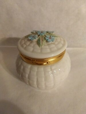 Beautiful Belleek Flowers Of The Month Trinket Box - April Forget Me Nots