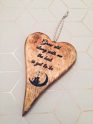 Solid Wooden Hanging Heart Grow Old With Me Quote Rustic Home Decor Wood Burnt