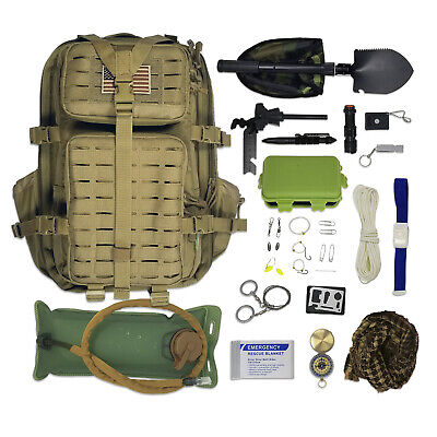 Survival Backpack Kit Includes Hydration Bladder and Emergency Tools (33pc Set)