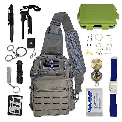 Tactical Sling Bag Survival Kit with Emergency Gear & Tools for Hiking, Camping