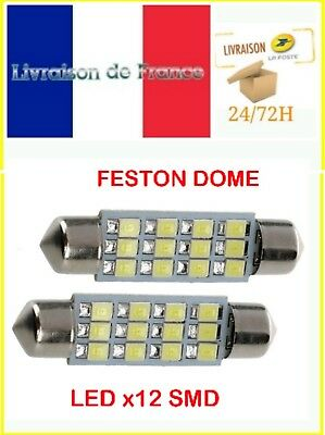 2X Ampoule Navette Dome LED x12 SMD 12v 39mm BLANC 3528 C5W Feston 6413 6418 Y3