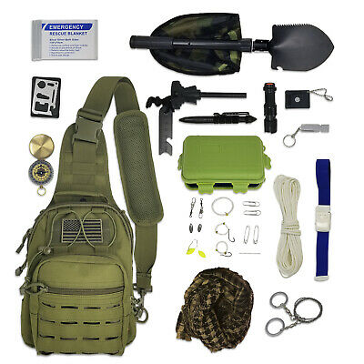 Sling Bag Bug Out Kit - Survival Pack Filled with Emergency Gear & Tools (Green)