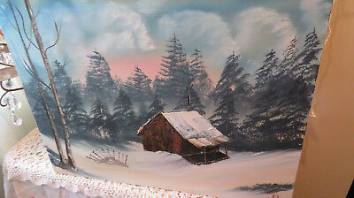 Vintage Painting Sundown Woods Log Cabin In The Snow Signed R. 24 X 18