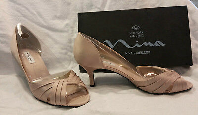 e34b57c200d NINA Culver Dorsay Womens Peep Toe Kitten Heel Pumps 11M Powder Sand New In  Box