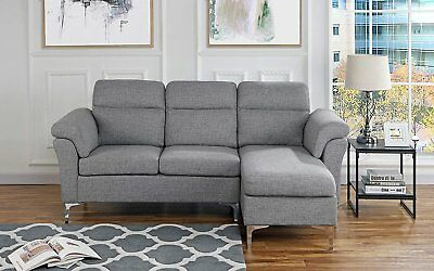 CONTEMPORARY LINEN FABRIC Sectional Sofa, Small Space Couch ...