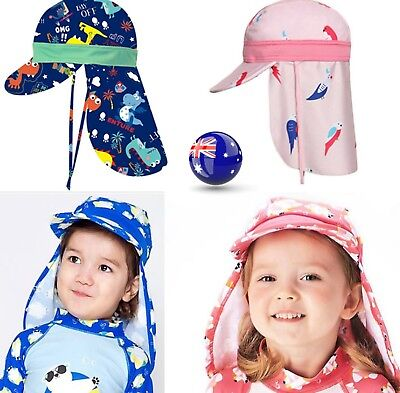 Boys Girls Children Kids Beach Travel Neck Cover Sun Swim Hat Cap tie up 1-6yrs