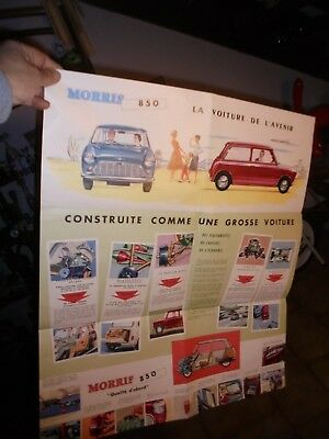 Grand Ancien Catalogue Affiche  Mini British Leyland Austin Morris 850