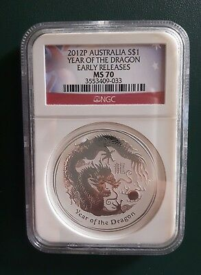 2012 Australia Dragon 1 oz 999 Silver coin NGC MS 70 - Early Releases