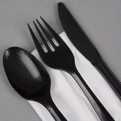 300 x Quality Heavy Duty Black Plastic Cutlery-100 each Knives Forks Spoons SALE