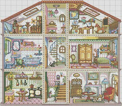 Doll House - Cross Stitch Chart - Digital Format
