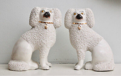 A Fine Pair Antique c19th Staffordshire Poodles, Confetti Glaze, Separate Legs