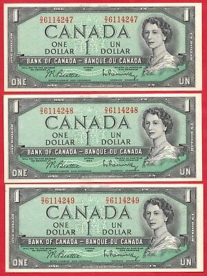 1954 $1 Bank of Canada Notes D/Z Prefix BC-37b-i - 3 Consecutive - Ch UNC