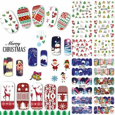 Santa Claus Snow-man Christmas Nail Art Stickers Water Transfer Manicure Decals