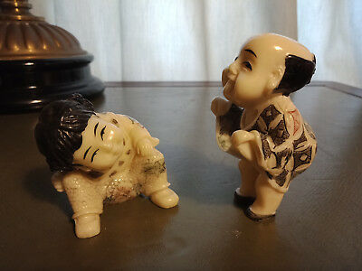 "Very Rare JAPAN Deco  figurines/Netsky/Okimono ""Naughty kids"" handmade,signed"