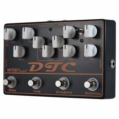 1X(MOSKY DTC 4-in-1 Electric Guitar Effects Pedal Distortion + Overdrive + T3Q4