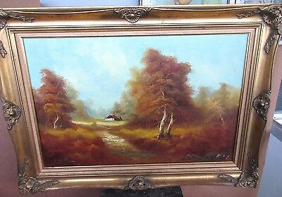 """36"""" Vintage Mid-Century Landscape Oil Painting On Canvas Cabin in Woods Signed"""