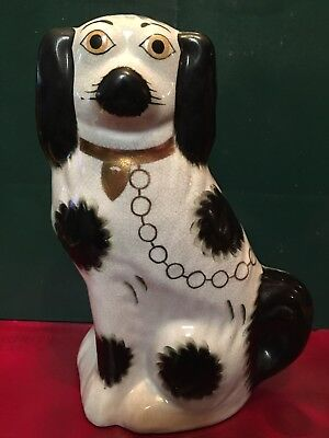 "Beautiful large Antique english Staffordshire Spaniel Dog 10"" Gold Paint Collar"