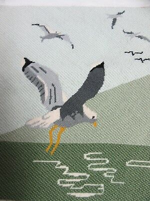 Finished Needlepoint Seagulls Sea Bird Completed 12x14 Ocean Beach JH