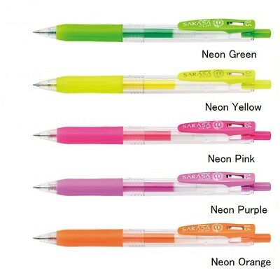 8a168630a277 Zebra Sarasa Clip Pen 0.5 mm Gel Ballpoint Pen Neon 5 Color Select (JJ15-