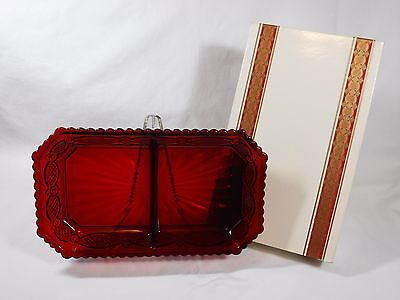 MINT Avon 1876 Cape Cod Ruby Red Glass CONDIMENT DISH with Original Box