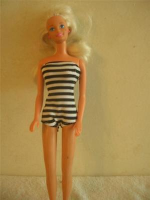 Doll Clothes New Barbie Bathing Suit Black White Stripe 1950's Style New