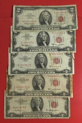 1953-1963 $2 RED US Deuces Set of 5 Legal Tenders  Rough Currency!