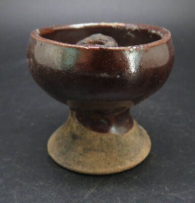 Rare Ancient Greek Pottery Oil Lamp With Brown Glaze