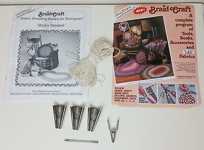Vintage Rug Braiding Kit Metal Briaders Lacer Clamp Instruction Book Cording
