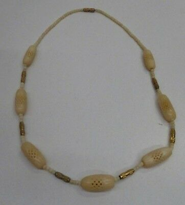 Vintage Carved Pierced Bovine Bone Carved Bead Necklace