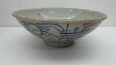 Antique Chinese Swatow Pottery Rice Bowl Hand Painted