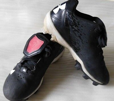 watch 37a94 2ace6 Youth Under Armour Softball Baseball Cleats Black and White Size 13  Pre-owned