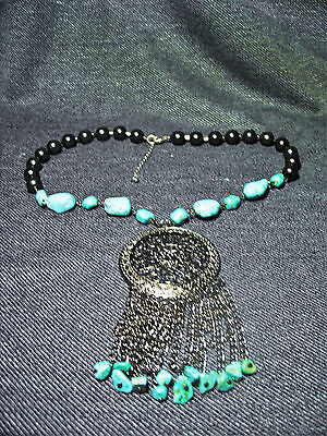 """Hematite &Turquoise Bead and Silver Alloy Statement Fashion Pendant Necklace 20"""""""