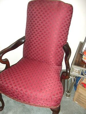Burgundy/Red Queen Ann Chair