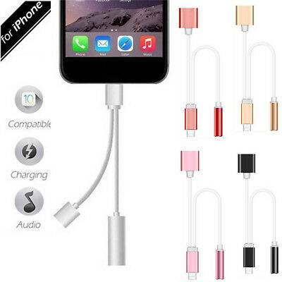 2 in 1 Lightning to 3.5mm Headphone Jack Adapter Charge Cable For iPhone 7 Plus