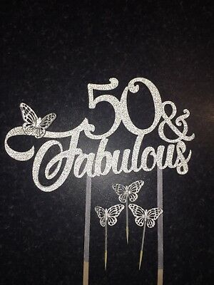 Glitter Fabulous 50 Fifty Butterfly Cake Topper Happy Birthday Glitzy Colours