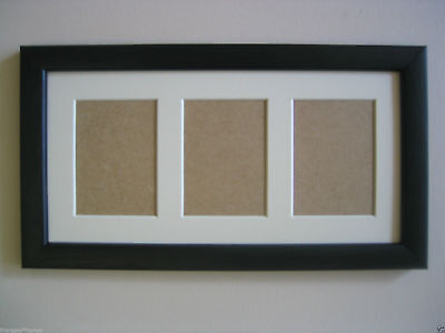 Black Wooden Triple Aceo/School Picture Frame With 3 Holes,Ivory Mount
