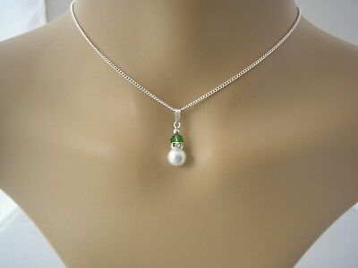 Dainty Pearl & Crystal Necklace Flower girl Bridesmaid Child & womens Gift 15FCR