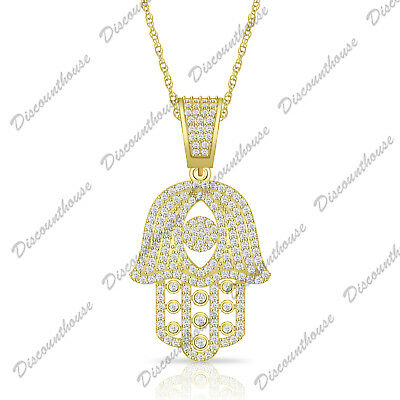 925 Sterling Silver Round Diamond Hamsa Pendant Necklace 14k Yellow Gold Over