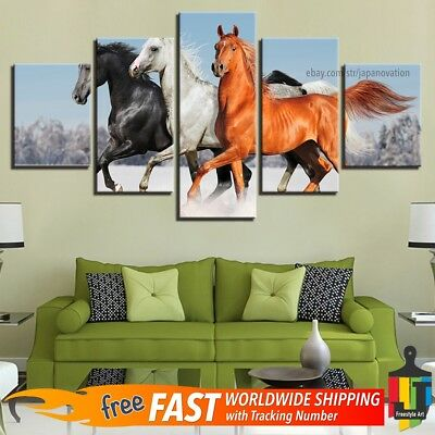 5 Pcs Home Decor Canvas Print Painting Animal Wall Art Galloping Arabian Horses