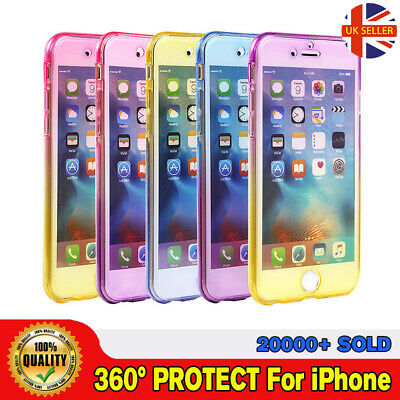 UK Seller!Full Body Shockproof 360° Slim Front and Back Silicon Case For iPhones