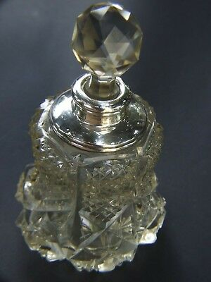 Antique Large Hand Cut Crystal Perfume Bottle w S/Silver Rim London 1900's