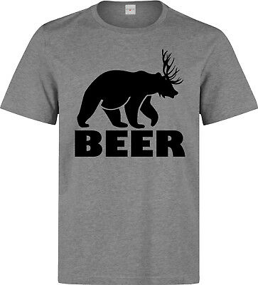 c42f7a30 Beer Funny Bear And Deer Mashup Graphic men's (woman's available) grey t  shirt