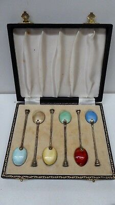 Antique Boxed Sterling Silver Guilloche Enamel Coffee Tea Spoons Set