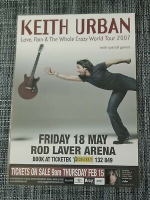 KEITH URBAN -  2007 Australia Tour - Laminated Promo Poster LOVE PAIN CRAZY
