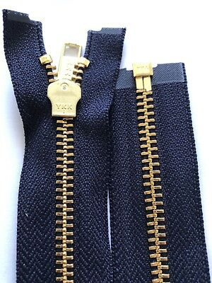 NO-5,YKK,NAVY BLUE TAPE,GOLD/BRASS METAL TEETH ZIP, OPEN ENDED,36 Inches,91 CM