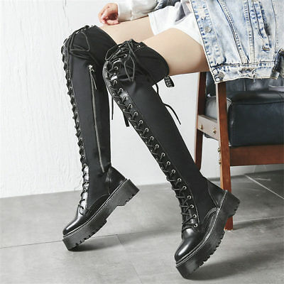 Women Black Lace Up Straps Thigh High Boots Over the Knee Platform Long Sneakers