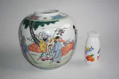 Antique Chinese Porcelain Hand Painted Figures Picture Ginger Jar - Marks