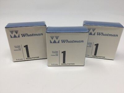 Lot of 3 New Whatman 100 Circle Filter Papers 1 Qualatative 5.5cm